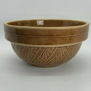 "Vintage Stoneware Crock Mixing Bowl Caramel Brown Glaze 8"" Scrolled Bands"